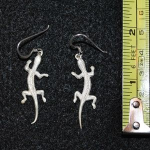 Sterling Silver Handmade Gecko Drop Earrings